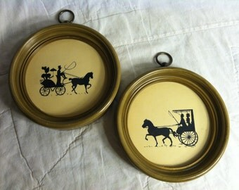 Pair of Vintage Round WALL HANGING PLAQUES Framed Horse and Carriage Avocado Green Early 1970s