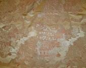 BRUNSCHWIG & FILS CHINOISERIE Peking Silk Satin Damask Fabric 10 yards Apricot