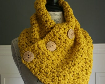 Mustard Yellow Cowl Scarf with 3 wooden buttons, crocheted