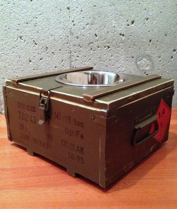 Elevated Green - Ammo Box Single Feeder - Pet Bowl - UpScaled