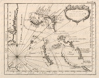 Map of The Lucayes From The 1700s 213 Ancient  Digital Image Download Bahamas Island Tropical Eleuthera Exuma Andros