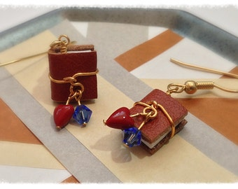 Mini Book Earring September Birthstone, Sapphire Swarovski Crystal with Surgical Steel Earwires - GE42