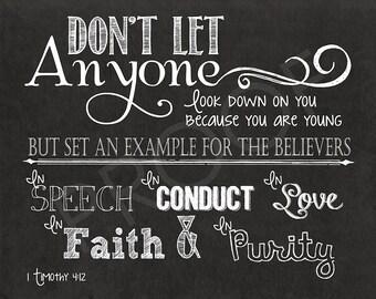 Scripture Art  - I Timothy 4:12 Chalkboard Print