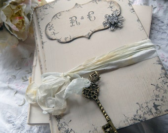 Vintage Inspired Wedding Guest Book in Shabby Chic style Linen