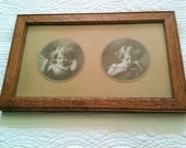 Vintage Shabby Chic Cupid with Arrows Framed Sepia Tone Photographs, Romantic Home, Olives and Doves