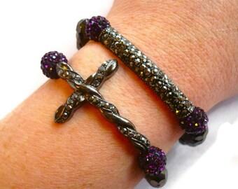 Hematite Cross Beaded Bracelet