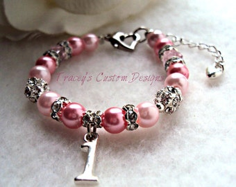 """The """"Pretty In Pink"""" Baby's 1st Birthday Keepsake Bracelet - Custom made just for you."""