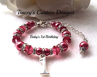 Stunning Baby's First Birthday Bracelet - Custom made just for you.