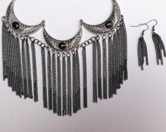 Bib Statement Necklace-Fringe Necklace-One of a Kind Original-Designs by Stalinda