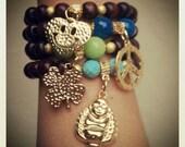 Arm Candy Peace buddha clover heart  Charm Beaded Bracelets set