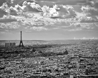 Cityscape Paris Black and White, France Fine Art Photography,multiple sizes available, travel photo, Parisian,skyline, Eiffel Tower