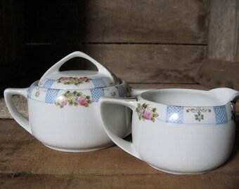 Antique Hand Painted Rising Sun Nippon Porcelain Cream and Sugar Set Shabby Cottage Farmhouse