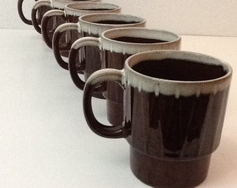 Vintage Set of Six Frosted Brownie Coffee Cups