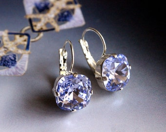 Swarovski Crystal Cushion Cut Drop Earrings in Provence Lavender