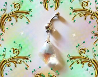 Belly Ring, Aurora Borealis Diamond Swarovski Crystal Drop Belly Button Ring, Belly Button Jewelry For Women and Teens
