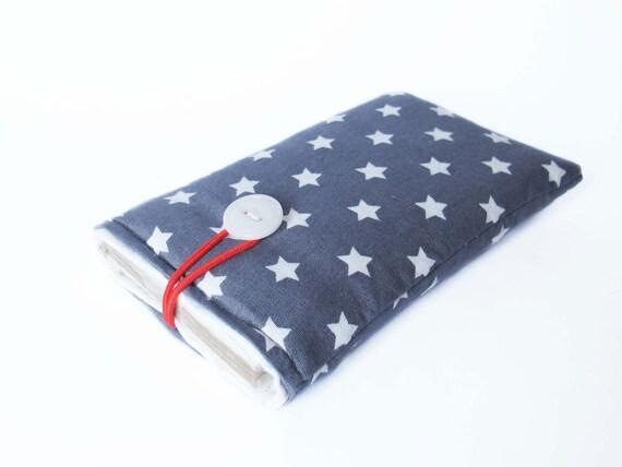 sleeve for iPhone gray bag stars cover case fabric upholstered handmade 4S, 4, 3G, 5, 5C