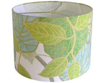 Custom Lamp Shade - Tropical Lampshade - Fabric Lamp Shades - Tropic Scene by Robert Allen at Home in Capri - Green and Blue - Made to Order