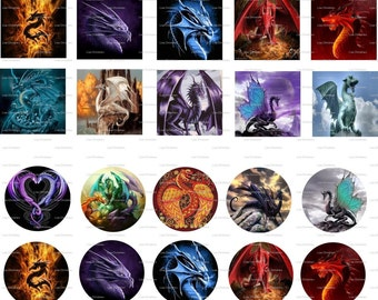 Dragons Digital Collage 1 inch, 18 x 25 mm ovals / 67