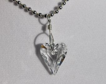 Clear Swarovski crystal heart necklace