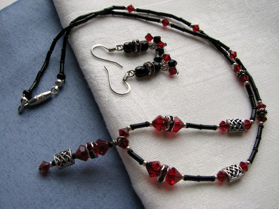 Necklace and Earring Set- Crystal Beaded Necklace- Pendant Necklace- Swarovski Crystals- Beaded Earrings- Black and Silver- Red and Black