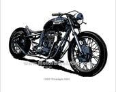 TRIUMPH BOBBER vintage motorcycle drawing art print