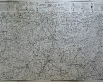 Kentucky Tennessee Map AUTO TRAILS Road Map Mid West States Map 1924  Vintage 1920s Atlas Map  Plaindealing 2092