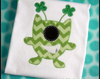 St.Patty's Day Shamrock Monster Applique Shirt