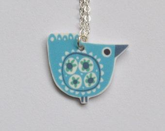 Bird Necklace in Aqua and Mint Green, Mid Century Modern Illustrated Bird Design