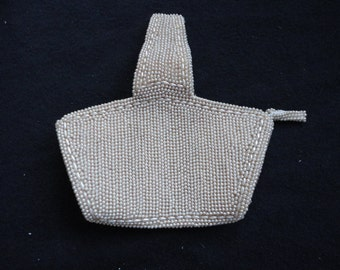 Vintage Small Ivory Beaded Wedding Purse/Bag Made in Japan