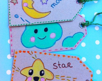 Gift Tags/ Brighten Up Your Day /Set of 5/ Uber2cute