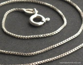 18 inch Sterling Silver Box Chain Necklace (1mm) -- Great for charms or pendants / build your own necklace