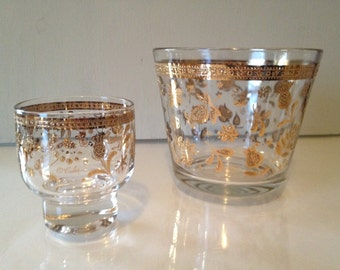 Modern Vintage Culver Gold Roly-poly and Ice Bucket