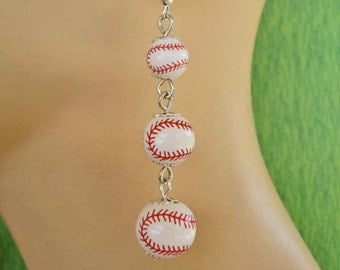 Baseball, Baseball, Baseball, Long Dangly Earrings with Sterling Silver Ear Wires FREE USA Shipping