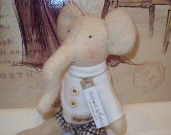 Personalised Boy Elephant in sweater and shorts