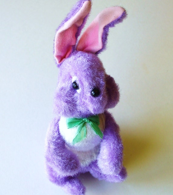 "VINTAGE 50's EASTER BUNNY purple and white, made in japan, unused condition 8"" tall x 3"""