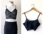 Vintage Black Lingerie Bra Top // Black Lace Lingerie