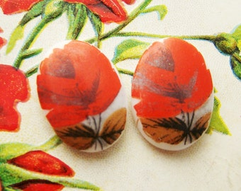 Vintage Red Rose Flower Cabochons Cameo Glass 18x13mm (2)