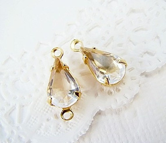 Crystal Clear Rhinestone Teardrops Vintage Glass Jewel  10/6 Connector Drop (6) 1 ring or 2 ring brass settings