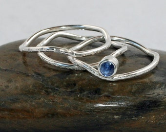 Stack ring, Sterling sapphire stack rings, September birthstone, made to order