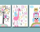 Childrens Art Kids Wall Art Baby Girl Room Decor Baby Girl Nursery Kids Room Kids Art Prints set of 3 8x10 Owls Giraffe Alphabet Pink Blue