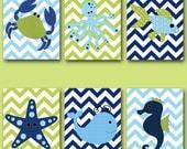Fish Crab Baby Boy Nursery Art Nursery Wall Art Baby Nursery Kids Room Decor Kids Art Boy Print set of 6 11x14 Whale Nursery Blue Green Navy