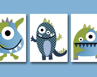 Childrens Art Kids Wall Art Baby Boy Room Baby Boy Nursery Kids Art Baby Nursery Decor set of 3 Monster Nursery Art Green Blue Kid Room