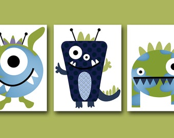 Childrens Art Kids Wall Art Baby Boy Room Decor Baby Boy Nursery Art Kids Art Baby Nursery Print set of 3 Nursery Monsters Green Blue