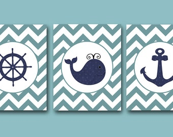 Kids Art Kids Wall Decor Sea Whale Nautical Baby Boy Nursery Art Print Children Wall Art Baby Room Decor Kids Print set of 3 Blue Navy /
