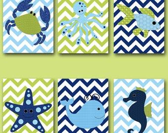 Bathroom Art Print Fish Crab Baby Nursery Art Canvas Print Nursery Wall Art Kids Room Decor Kids Art set of 6 Whale Nursery Blue Green /
