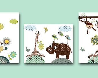 Neutral Nursery Art Giraffe Nursery Baby Nursery Art Nursery Wall Art Kids Art set of 3 Bird Monkey Nursery Turtle Hippopotamus Grey Green /