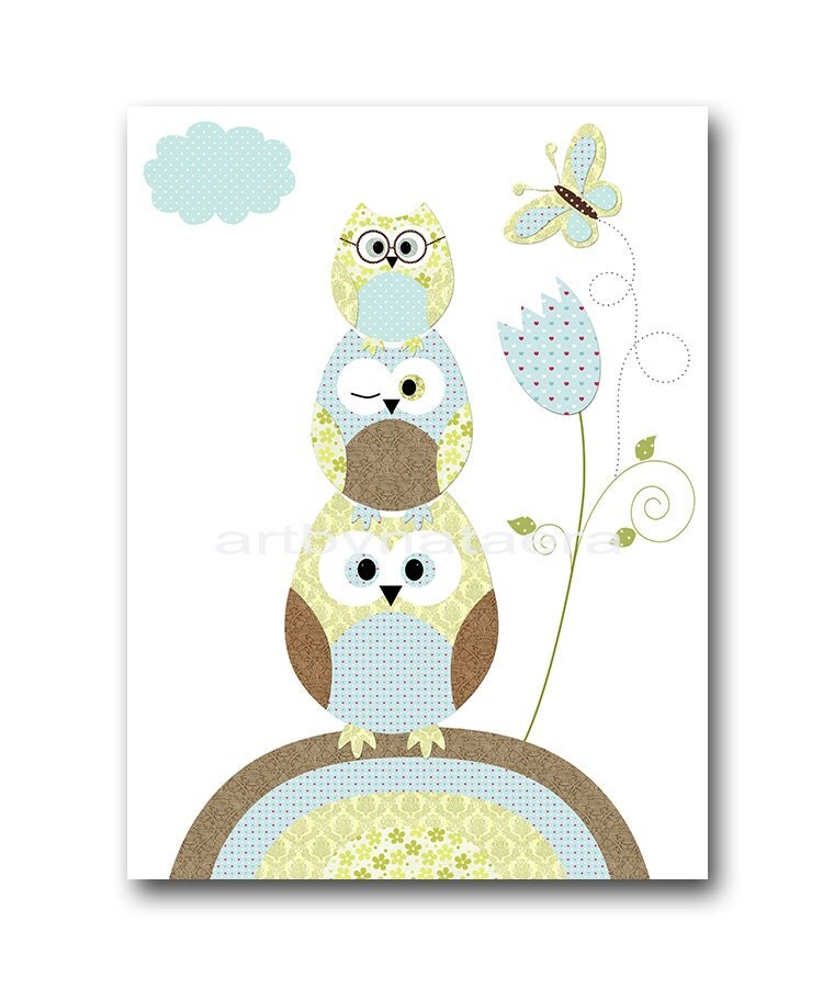 Owl decor owl nursery baby boy nursery art nursery wall art - Wall decor for baby boy ...
