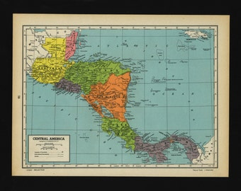 Vintage Map of Central America From 1944 Original