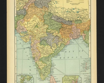 Vintage Map India From 1930 Original