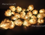 SALE 2 Sets of 35 White Rose Flower Fairy String Lights Romantic  Wall Table Floor Wedding Party Floral Home Decor 3.5m